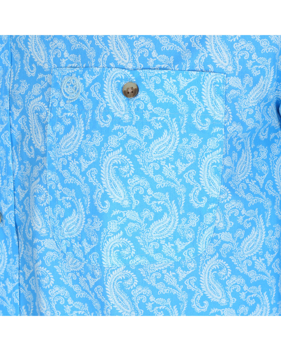Wrangler Men's Blue George Strait Printed Shirt , Blue, hi-res