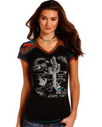 Panhandle Women's Black Suede Trim Cactus Graphic T-Shirt , Black, hi-res