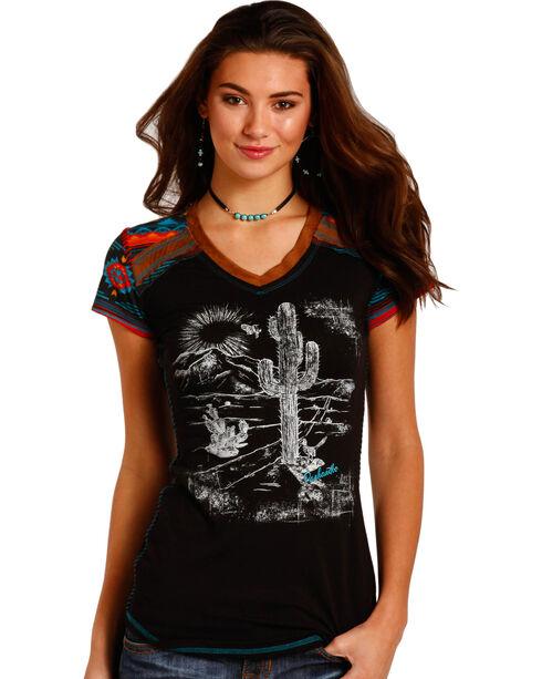 Panhandle Women's Black Suede Trim Cactus Graphic T-Shirt , , hi-res