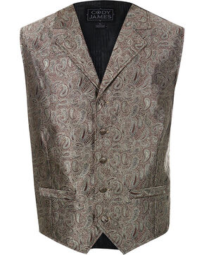 Cody James® Men's Paisley 5-Button Vest, Brown, hi-res