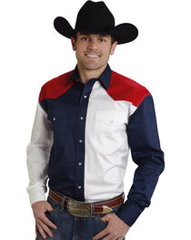 Roper Americana Collection Red, White and Blue Western Shirt, , hi-res