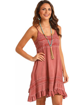 Rock & Roll Cowgirl Women's Spray Wash Ruffle Dress, Mauve, hi-res