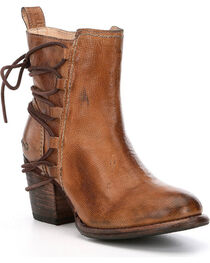 Bed Stu Blair Leather Lace Tie Back Booties - Round Toe, , hi-res