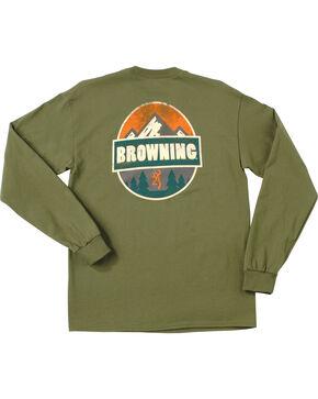 Browning Men's Loden Green Camp Badge Long Sleeve T-Shirt , Loden, hi-res
