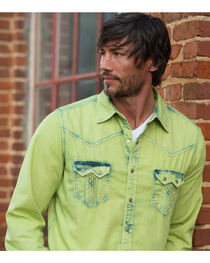 Ryan Michael Men's Avocado Tinted Indigo Shirt , , hi-res