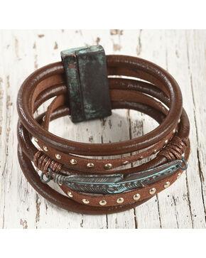 Shyanne Women's Feather Faux Suede Bracelet, Rust Copper, hi-res