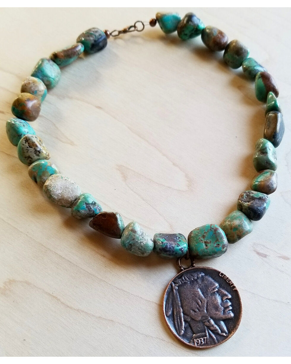 Jewelry Junkie African Turquoise Collar-Length Necklace with Indian Head Coin, Green, hi-res