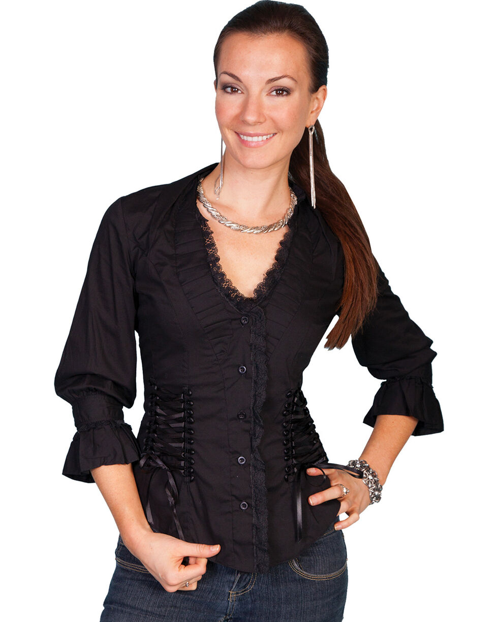 Scully Women's 3/4 Sleeve Ruffle Blouse, Black, hi-res