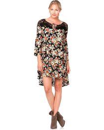 Miss Me Lace Inlay Floral Print Dress, , hi-res