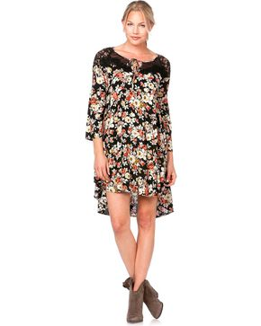 Miss Me Lace Inlay Floral Print Dress, Black, hi-res
