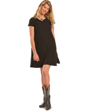 Derek Heart Women's Yara's Yummy Trapeze Dress , Black, hi-res