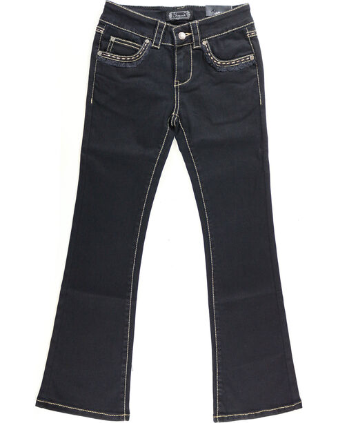 Shyanne Girl's Black Fringe Hem Jeans - Boot Cut, Black, hi-res