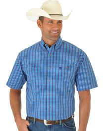Wrangler George Strait Blue & Navy Poplin Plaid Short Sleeve Shirt, , hi-res