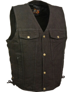 Milwaukee Leather Men's Side Lace Denim Vest w/ Chest Pockets - Big - 3X, Black, hi-res