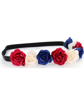 Shyanne® Women's Americana Flower Crown Headband, Red/white/blue, hi-res