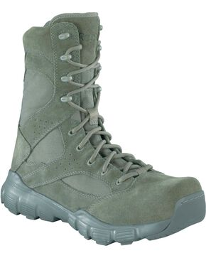 "Reebok Men's Dauntless 8"" Lace-Up with Side Zip Work Boots - Composition Toe, Sage, hi-res"