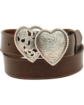 M&F Western Women's Sweetheart Leather Belt, Brown, hi-res