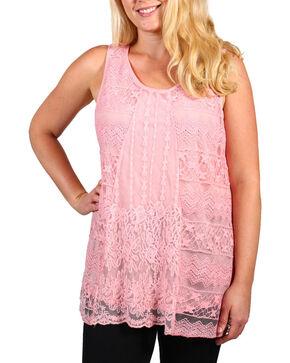Forgotten Grace Women's Plus Lace Overlay Tank Top, Pink, hi-res