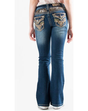 Grace in LA Girls' (7-16) Real Tree Accent Jeans - Boot Cut , Indigo, hi-res