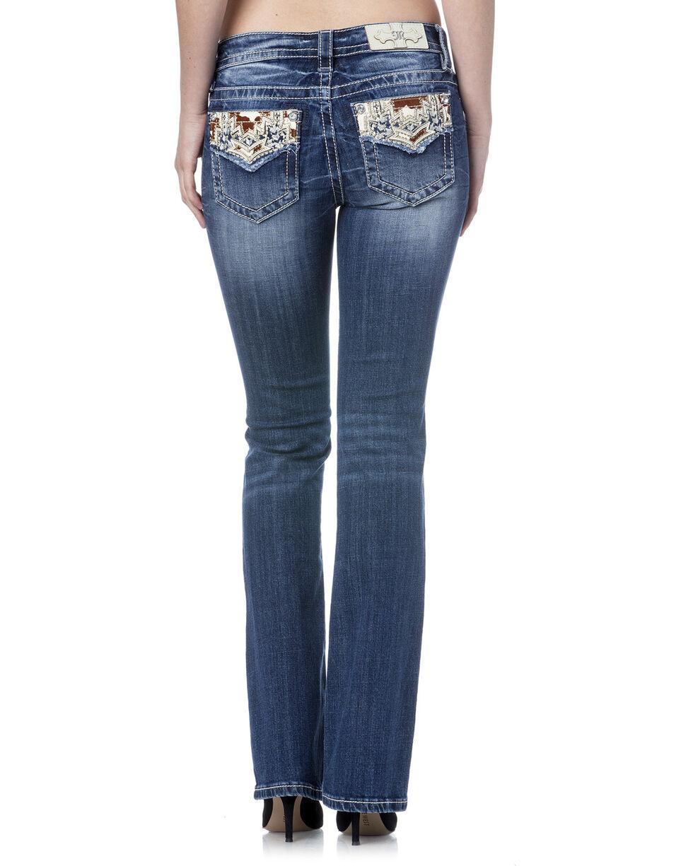 Miss Me Women's Blue Cowhide Flap Jeans - Boot Cut - Extended Sizes, , hi-res