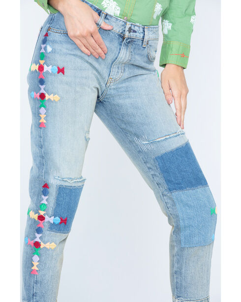 MM Vintage Women's Patchwork Fray Boyfriend Jeans - Straight Leg , Indigo, hi-res