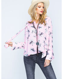 Polagram Women's Floral Print Tie Neck Top, , hi-res