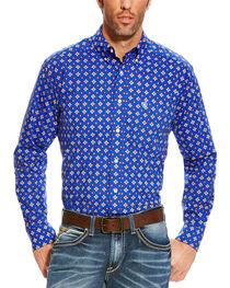 Ariat Men's Blue Diamond Print Benchley Western Shirt , , hi-res