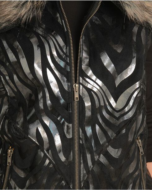 Powder River Metallic Zebra Print Vest, Black, hi-res