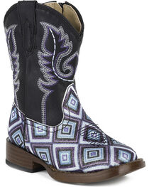 Roper Toddler Girls' Glitter Diamonds Western Boots - Square Toe , , hi-res