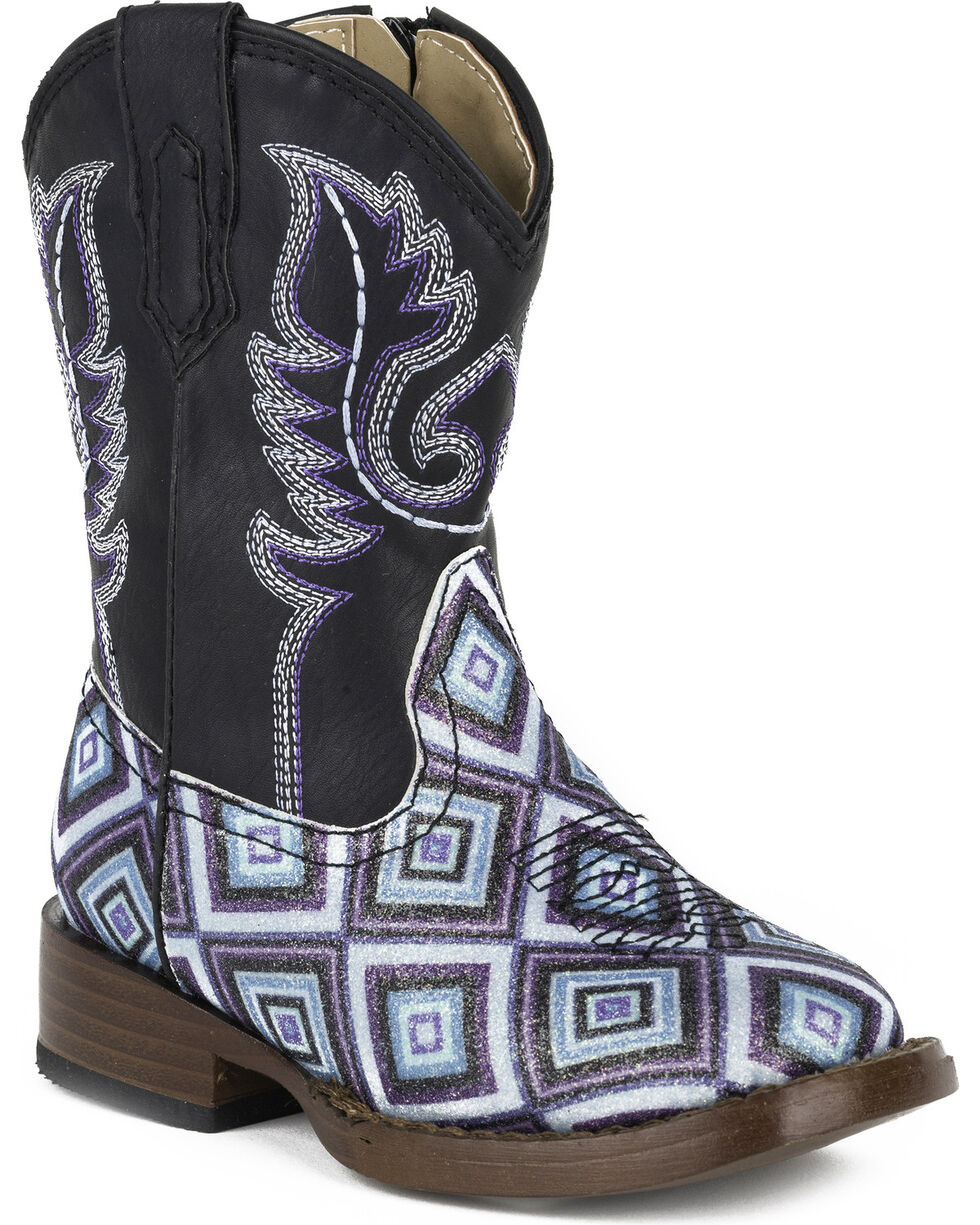 Roper Toddler Girls' Glitter Diamonds Western Boots - Square Toe , Black, hi-res