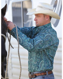 Cinch Men's Paisley Print Square Logo Long Sleeve Shirt, , hi-res