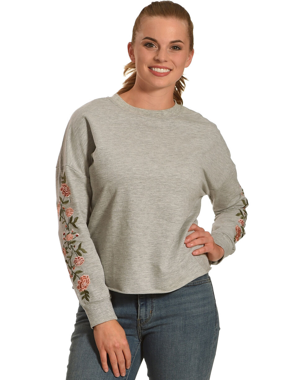 Derek Heart Women's Emmy's Embroidered Pullover, Grey, hi-res