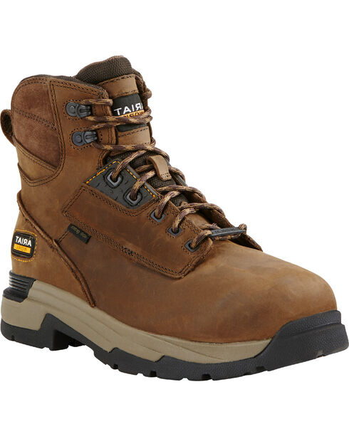 Ariat Men's Mastergrip Waterproof Insulated Comp Toe Work Boots, Brown, hi-res