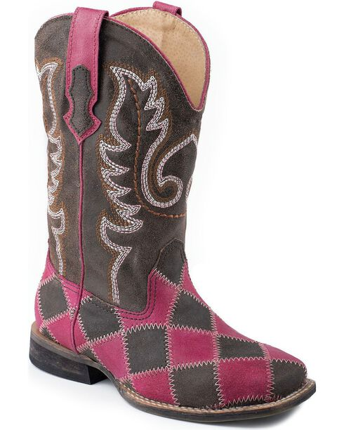 Roper Kid's Checkered Western Boots, Pink Check, hi-res