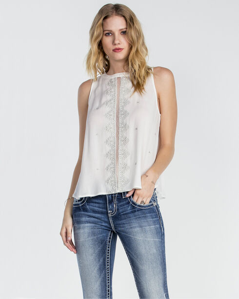 Miss Me Women's Pretty in Pleats Embroidered Sleeveless Top, White, hi-res