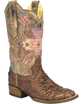 Corral Women's Gnarly Fish Skin Western Boots, Brown, hi-res