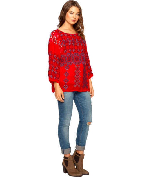Johnny Was Women's Sammy Blouse, Cherry, hi-res