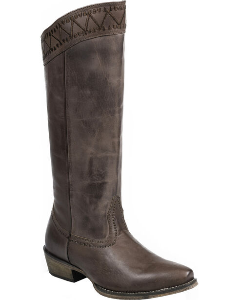 """Roper Brown Embroidered 15"""" Cowgirl Boots - Snip Toe , Brown, hi-res"""