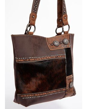 Shyanne Women's Hair-On Leather Shoulder Bag, Dark Brown, hi-res