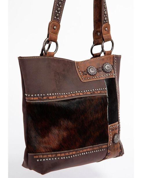 Shyanne Women's Hair-On Leather Shoulder Bag, Dark Brown, hi-res