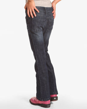 Wrangler Girls' Plain Stitch Boot Cut Slim Fit Jeans , Blue, hi-res