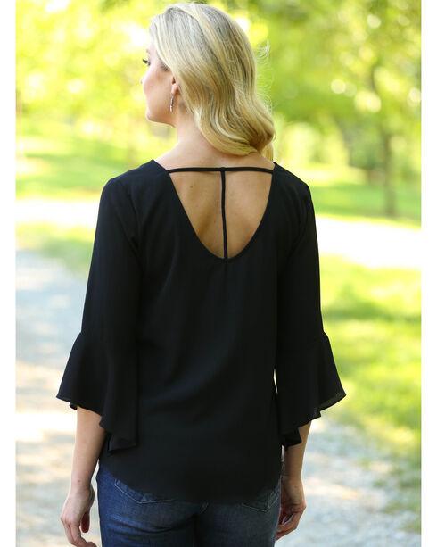 Wrangler Women's Black Strappy Bell Sleeve Top , Black, hi-res