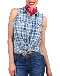 Shyanne Women's Distressed Plaid Sleeveless Western Shirt, , hi-res