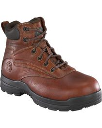 "Rockport Women's More Energy Deer Tan 6"" Lace-Up Work Boots - Composition Toe, Brown, hi-res"