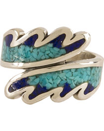 Silver Legends Women's Turquoise Feather Ring , , hi-res