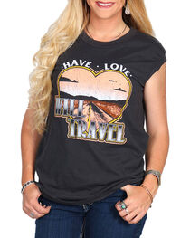 Bandit Women's Traveling Love Graphic Cap Sleeve Top, , hi-res