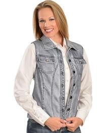Erin London Women's Gray Faux Leather Vest, , hi-res
