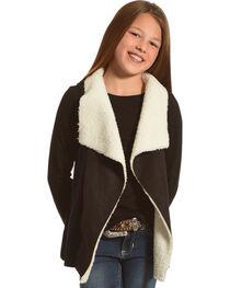 Derek Heart Girls' Black Sherpa Collar Sweater Vest , , hi-res