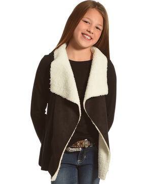 Derek Heart Girls' Black Sherpa Collar Sweater Vest , Black, hi-res