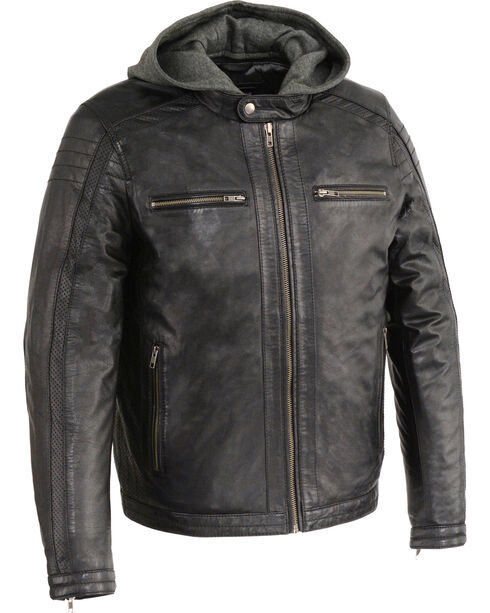 Milwaukee Leather Men's Zipper Front Leather Jacket w/ Removable Hood  , Black, hi-res